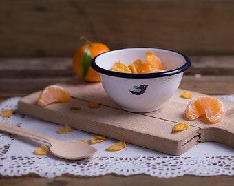 Enamel bowl small, enamel cookware, serving bowl, outdoor enamel bowl, camp bowl, kitchen bowl, travel bowl, picnic bowl, Spring small bowl