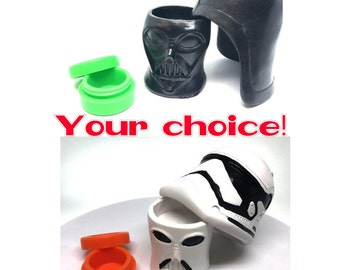 Handcrafted, Silicone Storage Jar with Resin Star Wars Container Cover YOU Choose- Darth Vader or Storm Trooper!  A Star Wars Fan MUST HAVE!