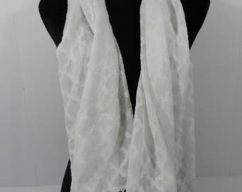 New White Scarf with Lace