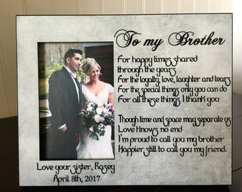 Wedding picture frame for brother of the bride // gift for brother // brother's picture frame gift