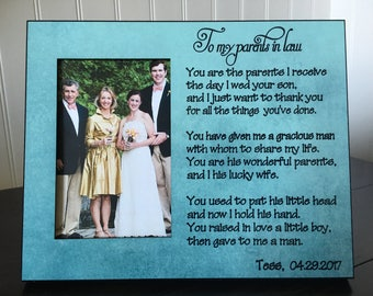Parents in law picture frame gift // parents in law wedding gift // Mother in law personalized gift // parents of the groom gift / 4x6 photo