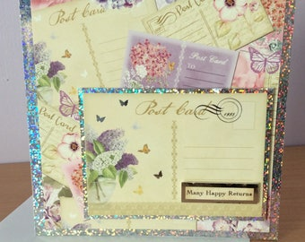 Handmade Birthday Card, handmade greetings card, Postcard, Many happy returns