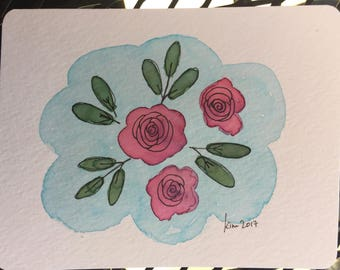 Set of 2 Handpainted Greeting Cards
