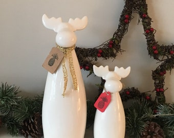 SALE-- Pair of Ceramic White Christmas Reindeer Deer Modern but Rustic --SALE