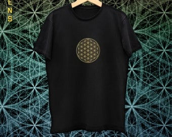 Men's Flower Of Life Mandala Tee / Tshirt, Handmade and Unique
