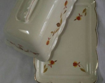Ruffled Grip 1lb Covered Butter Dish in Halls Superior Autumn Leaf Collection.