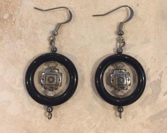 Sterling Silver & Black Navajo Earrings