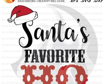 Digital File, Santa's Favorite Ho, Merry Christmas Xmas Santa Clause, Funny Printable Clip Shirt Decal Design, Svg, Png, Dxf, Eps file