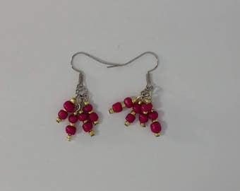Pomegranate Red Earrings Custom hand made earrings deep red glass beads Free Shipping USA & CANADA