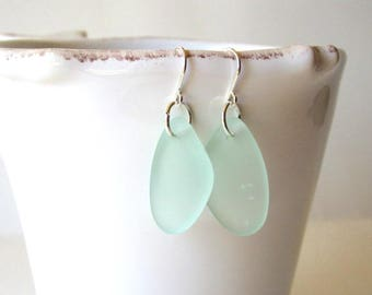 AQUA Blue Sea Glass Earrings, Beach Glass Dangle Earrings, Sea Glass Drop Earrings, Sea Glass Jewelry, Beach Earrings, Bridesmaid Gift