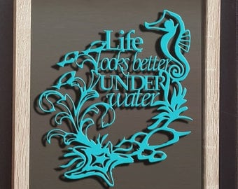 Underwater Custom Quote Framed Papercut- Home Personalised Gifts Print Cut