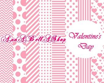 80% OFF SALE Digital Papers Valentine Day 2 - Love Hearts Scrapbook Supplies love digital paper heart digital paper valentines digital