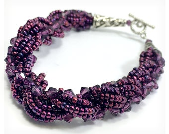 Purple Twist Beadwoven Bracelet