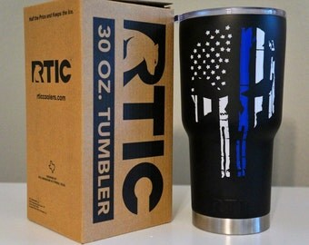 Blue Lives Matter Punisher Skull 30 or 40 oz. RTIC Tumbler