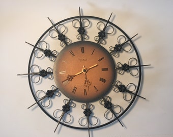 vintage starburst sunburst clock of 50u0027s 60u0027s wall clock copper weimar german democratic republic movement wall