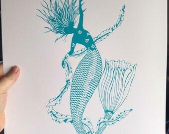 Mermaid - A3 Screenprint