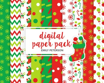 Christmas, Candy Cane, Christmas Candy - Cute Background, Digital Papers - Commercial Use, Instant Download