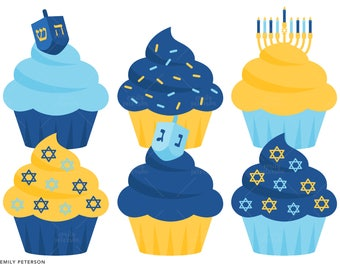 Hanukkah Cupcakes, Holiday Cupcakes, Jewish, Menorah - Cute Clipart, Clip Art - Commercial Use, Instant Download