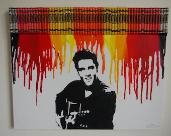 Elvis Presley Melted Crayon Art
