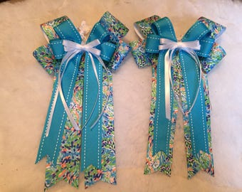 Blue Spring Patterned Horse Show Bow