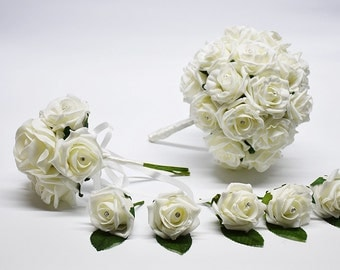 Ivory Bridal Bouquet with 2 Posies and 100 Buttonholes - Bride, Groom & Guests