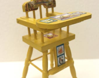 Doll house miniature wooden highchair nursery furniture . Yellow with vintage toy motifs one inch scale
