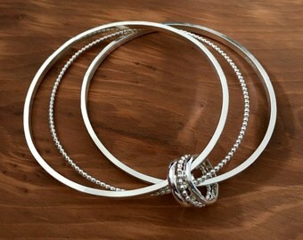 Stunning Triple silver bangle, Beaded bangle, square bangle, silver bangle, Sterling silver triple bangle, 8.5 inch bangle, handmade bangle