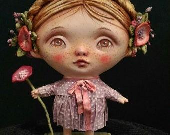 "Art doll ""Knopkie"" by Anna Zueva, hand-made hand-painted paper mache"