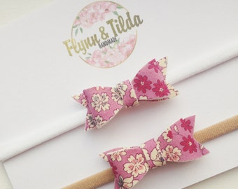 Baby headband pink frou frou bow