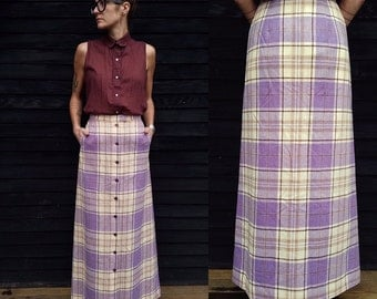 Vintage Pendleton Maxi Skirt | Tartan Plaid | Button Front | Lined | 1970's 1960's Wool Skirt | Purple, Ivory, Tan, Burgundy | SZ (S)
