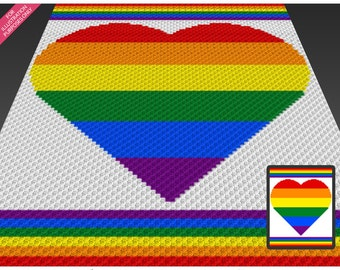 Rainbow Heart crochet blanket pattern; c2c, cross stitch; knitting; graph; pdf download; no written counts or row-by-row instructions