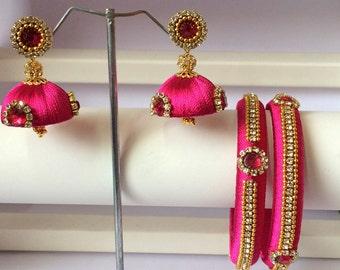 Silk Thread Bangles with Matching Jhumki Earrings - Pink