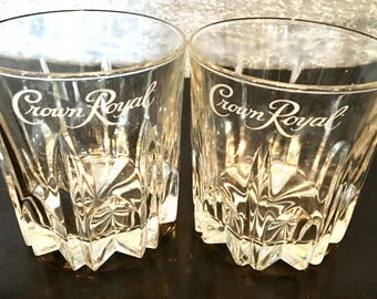 Cut Crystal Crown Royal Low Ball Rocks Glasses