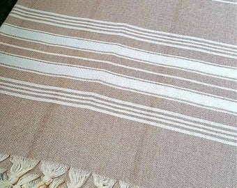 Turkish BATH Towel Peshtemal tan (white striped) - natural / organic cotton / %100 cotton Beach, Spa, Swim, Pool Towels and Pareo