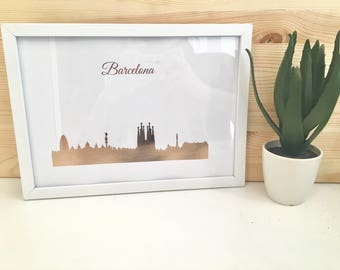Rose Gold Barcelona Cityscape/ Skyline Print With Frame Included
