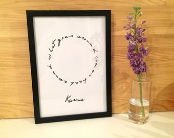 Black And White Karma Quote Framed Print