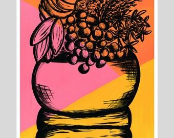 Girl With Basket - Acrylic Painting - Giclee Fine Art Print - Wall Art - Wall Decor - Home Decor - Limited Edition Print