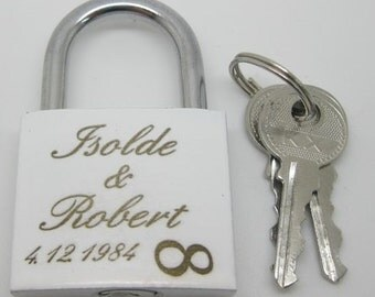 Love castle with engraving laser lock padlock infinity white