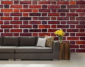 brick wallpaper, brick texture, brick wall mural, red brick wallpaper, red brick wall decal, old brick, brick decal, brick mural