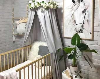Canopy tent in grey, pink, white or navy for baby or kids, use as cot canopy, crib canopy, bed canopies or as a reading nook. Nursery decor