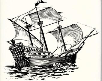 """4"""" Sailing ship ceramic coaster"""