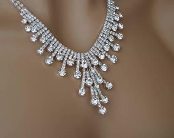 "Set of ""Cindy"",Rhinestone Jewelry Set, Crystal Wedding Necklace Set, bridal jewelry set, wedding jewelry set, bridesmaid jewelry set."