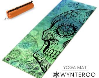 YOGA MAT - GREEN Sugar Skull Yoga Mat, Muertos Skull Yoga Mat, Green Skull Yoga Mat, Blue Yoga Mat, Blue Skull Yoga Mat, non slip mat