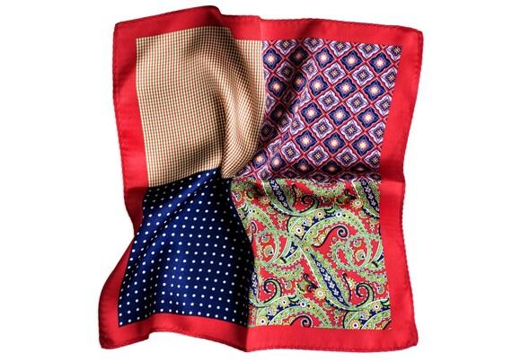 Silk Pocket Square Mood Swings Red