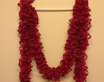 Long Hand KNITTED RUFFLE SCARF Fashion Starbella Women's Accessory - Red