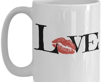Love Kiss White Coffee Mug 15oz -  Great Gift for Valentines Day or Anniversary and more