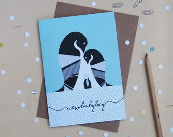New Baby Boy Penguin Greeting Card - New Baby - Baby Boy - Penguin Baby Gift