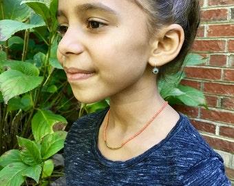 Orange beaded necklace/ Seed bead Necklace / Children's Jewelry