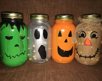 Halloween Mason Jar Luminary Set