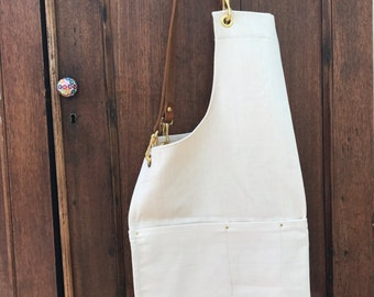 Organic natural denim artisan apron with leather straps